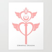 martell Art Prints featuring Sailor Moon Inspired Wand Pink by G Martell