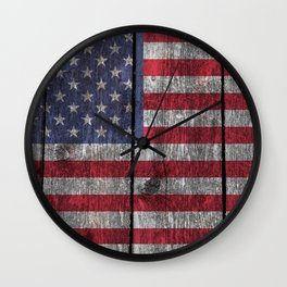"""Old Glory""  ""The Star Spangled Banner"" on wood Wall Clock"