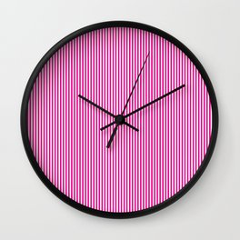 Pink Pinstripes Wall Clock
