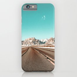 Vintage Desert Road // Winter in the Mojave of Las Vegas at Red Rock Canyon National Park iPhone Case