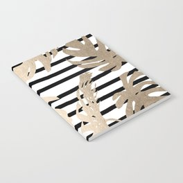Simply Tropical White Gold Sands Palm Leaves on Stripes Notebook