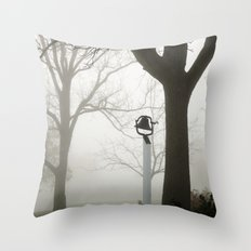 Misty school bell in autumn Throw Pillow