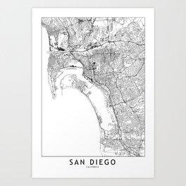 San Diego White Map Art Print
