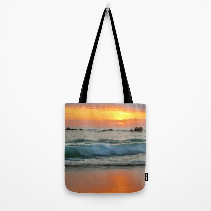 Golden sunset with turquoise waters Tote Bag