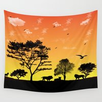 safari Wall Tapestries featuring Safari by Kaitlynn Marie
