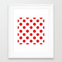 polka dots Framed Art Prints featuring Polka Dots (Red/White) by 10813 Apparel