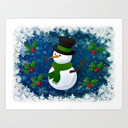 Snowman - Happy Holidays Art Print