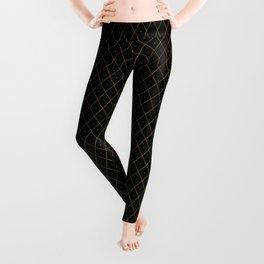 Luxury Gold Argyle - Black (Small Pattern) Leggings