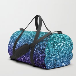 Beautiful Aqua blue Ombre glitter sparkles Duffle Bag
