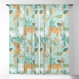 Cheetah Jungle #illustration #pattern Sheer Curtain