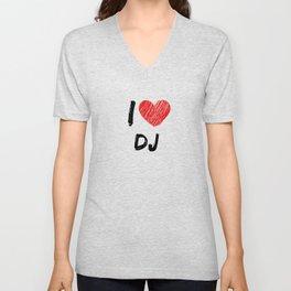 I Love DJ Unisex V-Neck