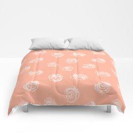 Sweet Life Rosebud Peach Coral Pink Comforters