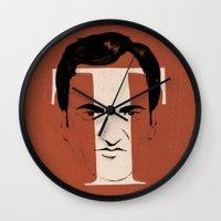 tarantino Wall Clocks featuring T is for Tarantino by Albert Blanchet