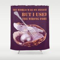 oscar wilde Shower Curtains featuring Oscar Wilde #1 The Oyster by bravo la fourmi