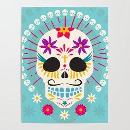 Dios De Los Muertos Day of the Dead Sugar Skull Fiesta Poster