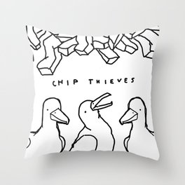 CHIP THIEVES Throw Pillow