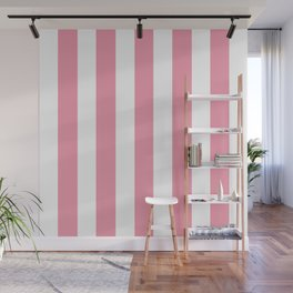 Flower girl pink - solid color - white vertical lines pattern Wall Mural