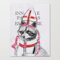 racoon Canvas Prints featuring Racoon by Black Wolf