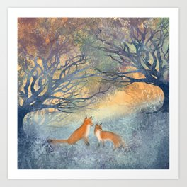 The Two Foxes Art Print