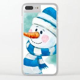 Blue Snowman 02 Clear iPhone Case