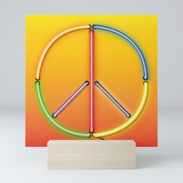 PEACE Sign Neon Mini Art Print
