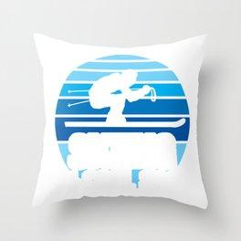 Funny Skier Ski Team Skiing Cool Sport Hobby Gift  Throw Pillow