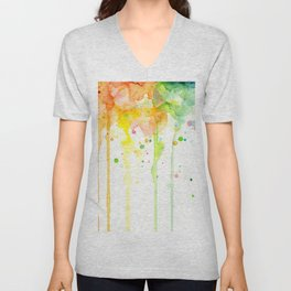 Rainbow Watercolor Pattern Texture Unisex V-Neck