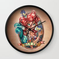 girls Wall Clocks featuring SIREN by Tim Shumate