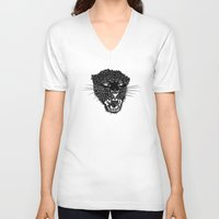 panther V-neck T-shirts featuring Panther by Pavel Lipcean