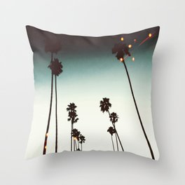 Bokeh Palms Throw Pillow