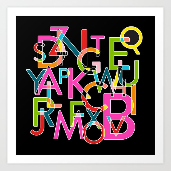Alphabet Deconstructed Colour Art Print