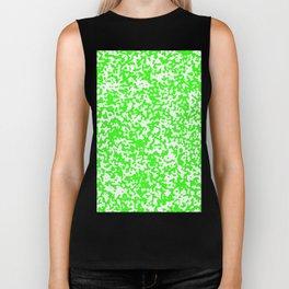 Small Spots - White and Neon Green Biker Tank