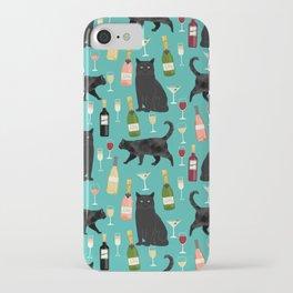 Black cat wine champagne cocktails cat breeds cat lover pattern art print iPhone Case