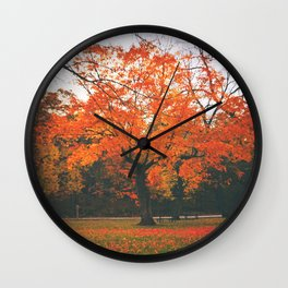 Bright Orange Fall Tree Wall Clock
