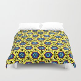 Honeycomb and Bumble Bees Duvet Cover