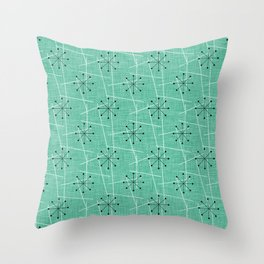 Atomic Starbursts Mid-Century Style Throw Pillow
