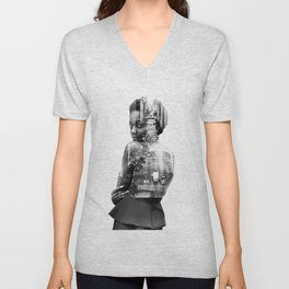 Double Exposure of woman and New York Unisex V-Neck