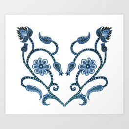 Blue Paisley Heart Art Print