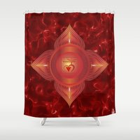 chakra Shower Curtains featuring Root Chakra by Gypsy Owl Productions