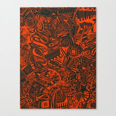 Inky - Orange & Green Canvas Print
