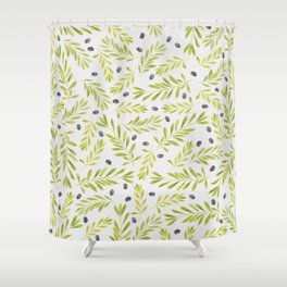 Watercolor Olive Branches Pattern Shower Curtain