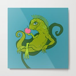 Lizard. Iguana Cartoon Hand Drawn illustration.  Metal Print