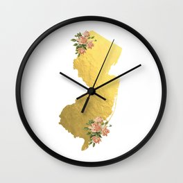 Baesic Gold Foil New Jersey Wall Clock