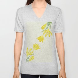yellow botanical crocus watercolor Unisex V-Neck