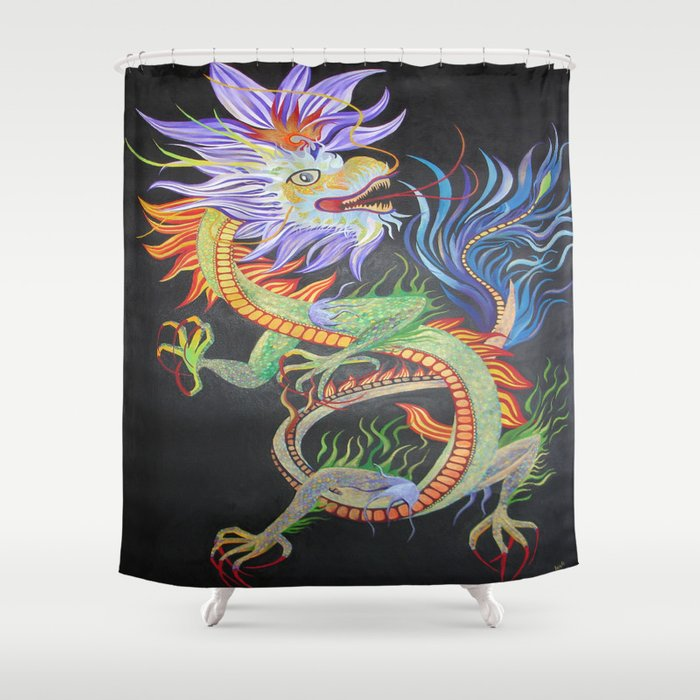 Bright And Vivid Chinese Fire Dragon Shower Curtain By Taiche