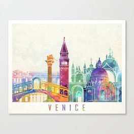 Venice landmarks watercolor poster Canvas Print