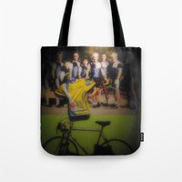 tour de france Tote Bags featuring tour de france by Emanuele Reina