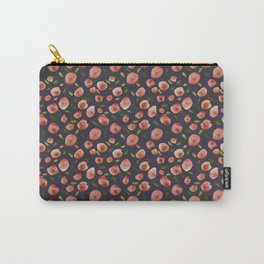 Poppies Hand-Painted Watercolors in Rose Pink on Charcoal Grey Carry-All Pouch