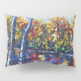 Autumn Forest with a Palette Knife Painting Pillow Sham