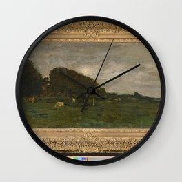 Charles-François Daubigny - Landschap met koeien bij maanlicht Wall Clock